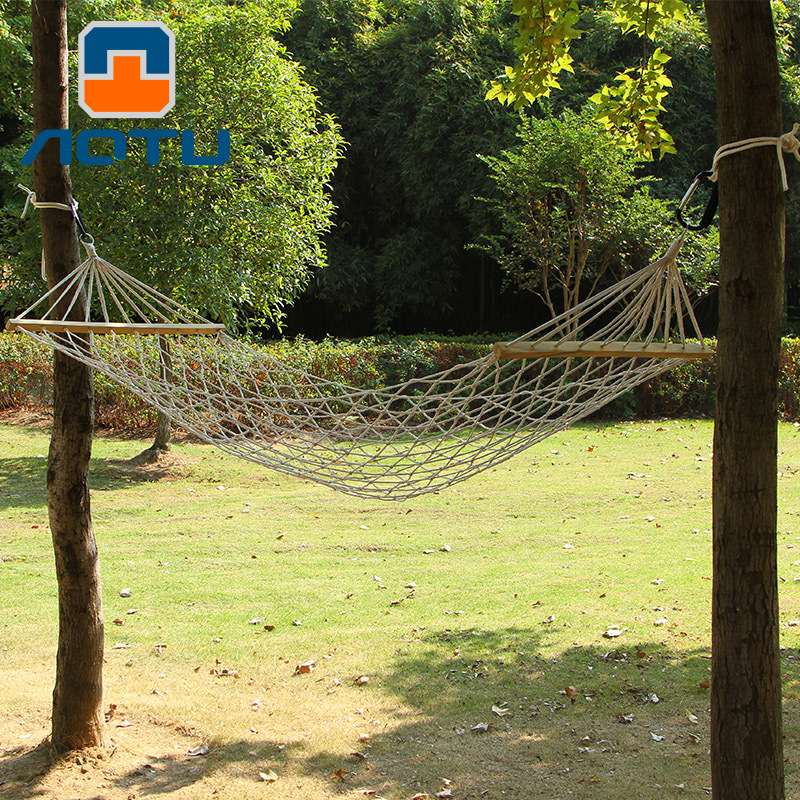 Bump Outdoor Cotton Thread Hammock Wood Mesh Rough Cotton Hammock Swing With Stick With Rod Rough AT6720