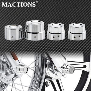 2pcs/4pcs Motorcycle Front Rear Axle Cover Cap Nut Chrome For Harley Sportster XL Dyna Fat Bob CVO Touring Street Road Softail(China)