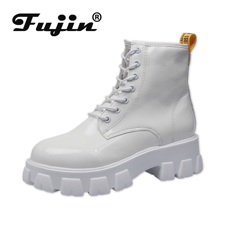 fujin women boots casual 2020 Patent leather Women waterproof Boots motorcycle Boots Female Winter Shoes Woman punk Boots