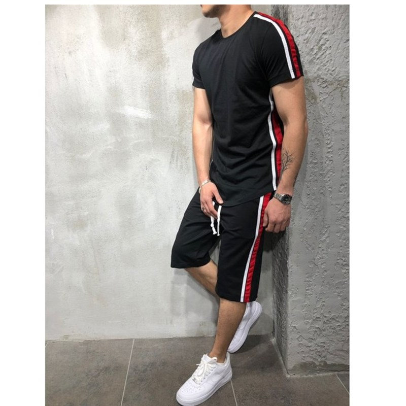 2020 New Summer Short Sleeve Sport Suits Men's Tracksuit Breathable Sweat Suits Male Sportswear 2 Piece Set Men Shorts + T Shirt