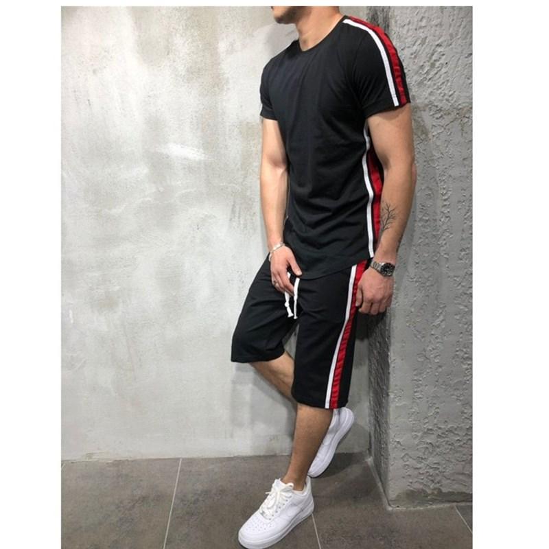 2020 New Summer Short Sleeve Sport Suits Men's Tracksuit Breathable Sweat Suits Male Sportswear 2 Piece Set Men Shorts + T Shirt