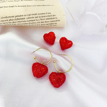 925 Silver Needle Earrings with Water Drill Red Loving Female Heart-shaped Net Lovely Candy Sweet
