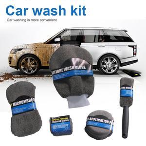 9 Pcs Auto Care Car Wash Cleaning Kit Include 3* Microfiber Towels, 3* Applicator Pads, Wash Sponge, Wash Glove, Wheel Brush