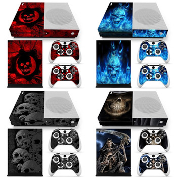 New skull design Sticker Skin Decal For Microsoft Xbox One S Slim Console+Controllers image