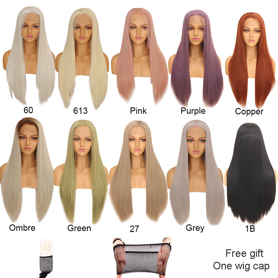 Image 5 - Xtrend Straight Synthetic Lace Front Wig White Pink Purple Green Blonde 613 Grey 60 Copper Wigs For Black Women Heat Resistant-in Synthetic Lace Wigs from Hair Extensions & Wigs