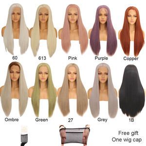 Image 5 - Xtrend Straight Synthetic Lace Front Wig White Pink Purple Green Blonde 613 Grey 60 Copper Wigs For Black Women Heat Resistant