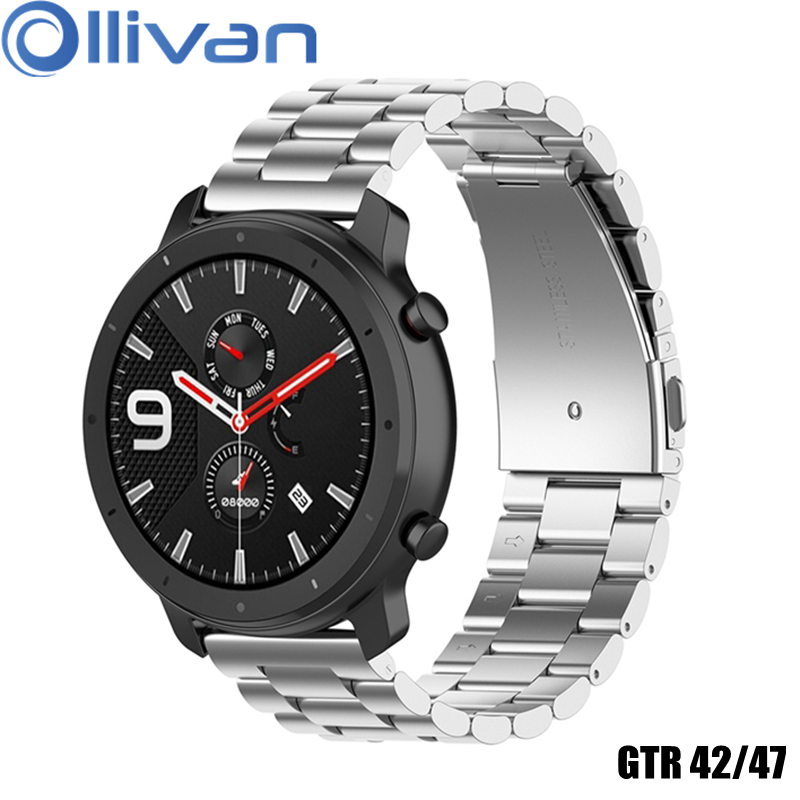 OLLIVAN Stainless Steel Metal Watch Band For Xiaomi Amazfit GTR 42/47MM Strap Quick Replace Band For Amazfit GTR 42 47 Sliver