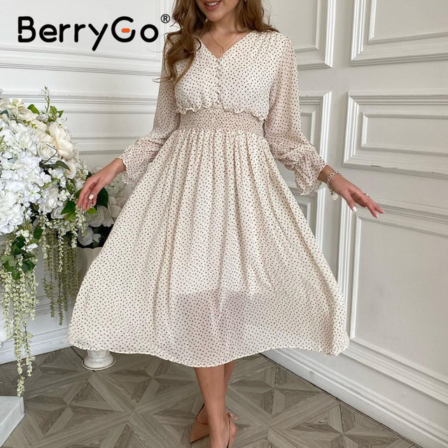 BerryGo Casual flare sleeve dress women Elegant V-neck polka dot print dress High waist A-Line holiday female midi dress vestido