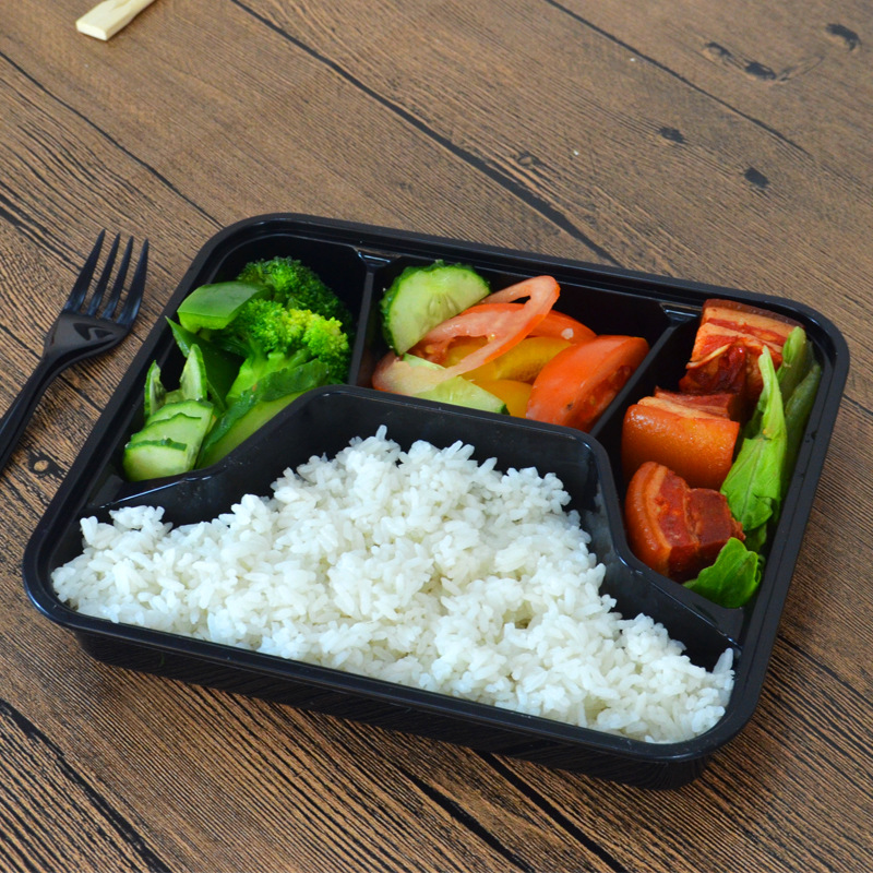 Container Four Grid Mold Plastics Lunch Box Disposable Fast Food Container Square Take-out Bale Box Plastic Lunch Box