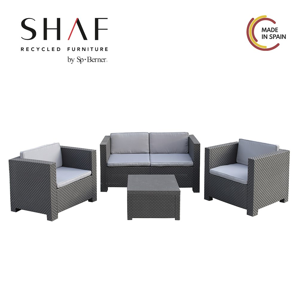 SHAF - Set Garden Comfort DIVA, Ideal For Thy Terrace Or Garden Grey Anthracite Or Brown Color Wenge