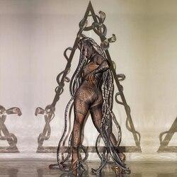 Halloween horror thriller alien serpentin lebensechte overall bühne leistung kostüm bar konzert DJ sänger/tänzerin kostüm