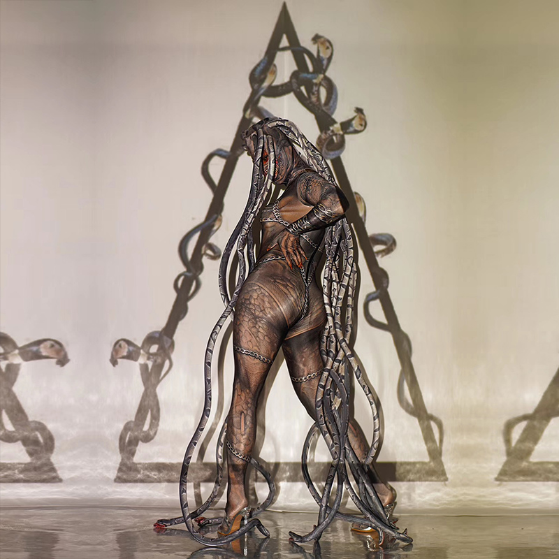 Halloween Horror Thriller Alien Serpentine Lifelike Jumpsuit Stage Performance Costume Bar Concert DJ Singer/dancer Costume