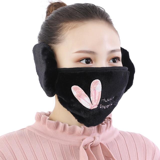Cute cartoon Mask women Ear protective mouth Mask Windproof earmuff anti dust winter masks girls Anti Haze Flu cotton Face masks