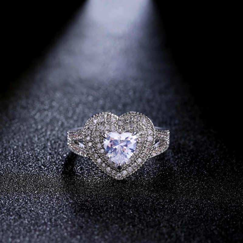 Huitan Elegante Unendlich Herz Hochzeit Ringe Für Frauen Mit Gleichen Romantische Herz Geformt Cubic Zirkon Stein Micro Gepflasterte Femme Ring