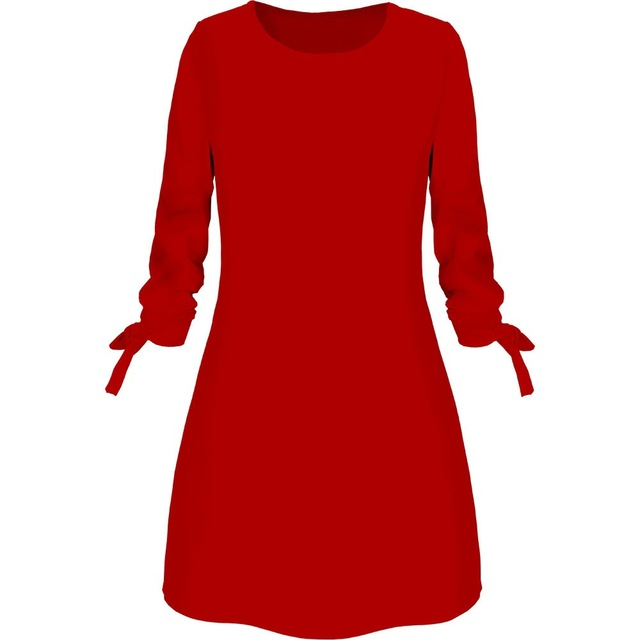 Spring New Fashion Solid Color Dress Casual O-Neck Loose Dresses 3/4 Sleeve Bow Elegant Beach Female Vestidos Plus Size 5