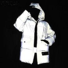 Chaqueta ligera reflectante para mujer, abrigo de algodón con capucha para la calle de invierno, para correr, seguro, reflectante, cálido, Unisex, para hombre, Parkas