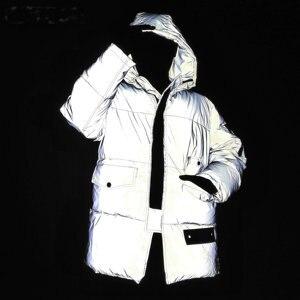 Image 1 - Chaqueta ligera reflectante para mujer, abrigo de algodón con capucha para la calle de invierno, para correr, seguro, reflectante, cálido, Unisex, para hombre, Parkas