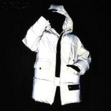 Women Reflective Light Jacket Winter Streetwear Hooded Cotton Coat Night Sport Jogging Safe Reflecting Warm Unisex Men Parkas
