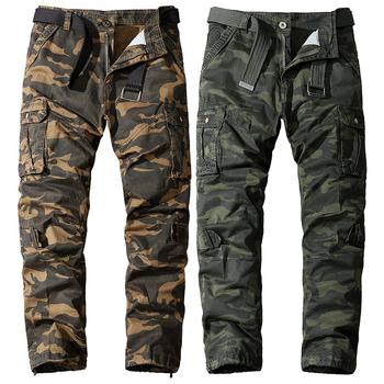 Spodnie kamuflażowe mężczyzn czystej bawełny na świeżym powietrzu wojskowe wielo-spodnie z kieszeniami Camo spodnie taktyczne spodnie wojskowe mężczyzna wiosna jesień 2021 tanie i dobre opinie TIKALIA Wiosna i jesień Spodnie cargo CN (pochodzenie) COTTON CASUAL Military Mieszkanie REGULAR średniej wielkości JERSEY