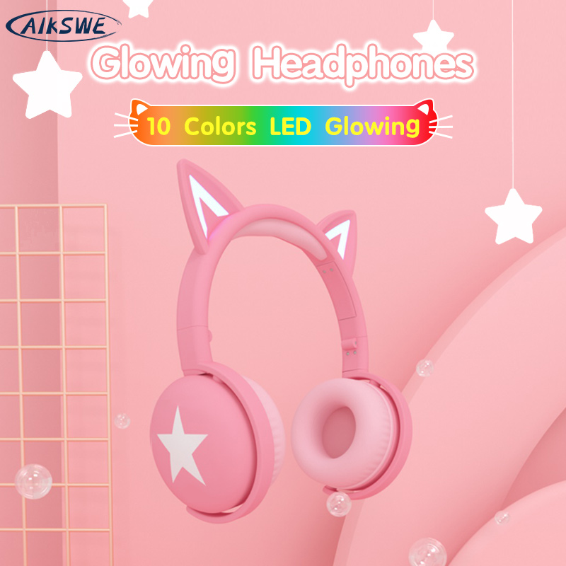 AIKSWE Bluetooth Headphones Glowing Cute Cat Colourful LED Girls Gift Kids Wireless Headset HIFI Stereo Bass 3.5mm AUX With MIC