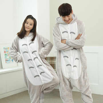 Kigurumi totoro manches longues capuche onesie hommes femmes flanelle chaude combinaison pyjama adulte entier une pièce pyjamas animaux kugurumi