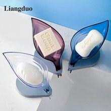 Liangduo форма листьев мыльницы abs силиконовый держатель для