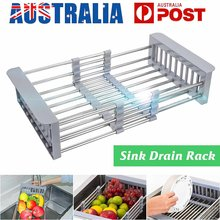 Stainless Steel Length Retractable Storage Baskets Draining Rack Kitchen Sink Plate Dish Tableware Shelf Water Filter Drainer(China)