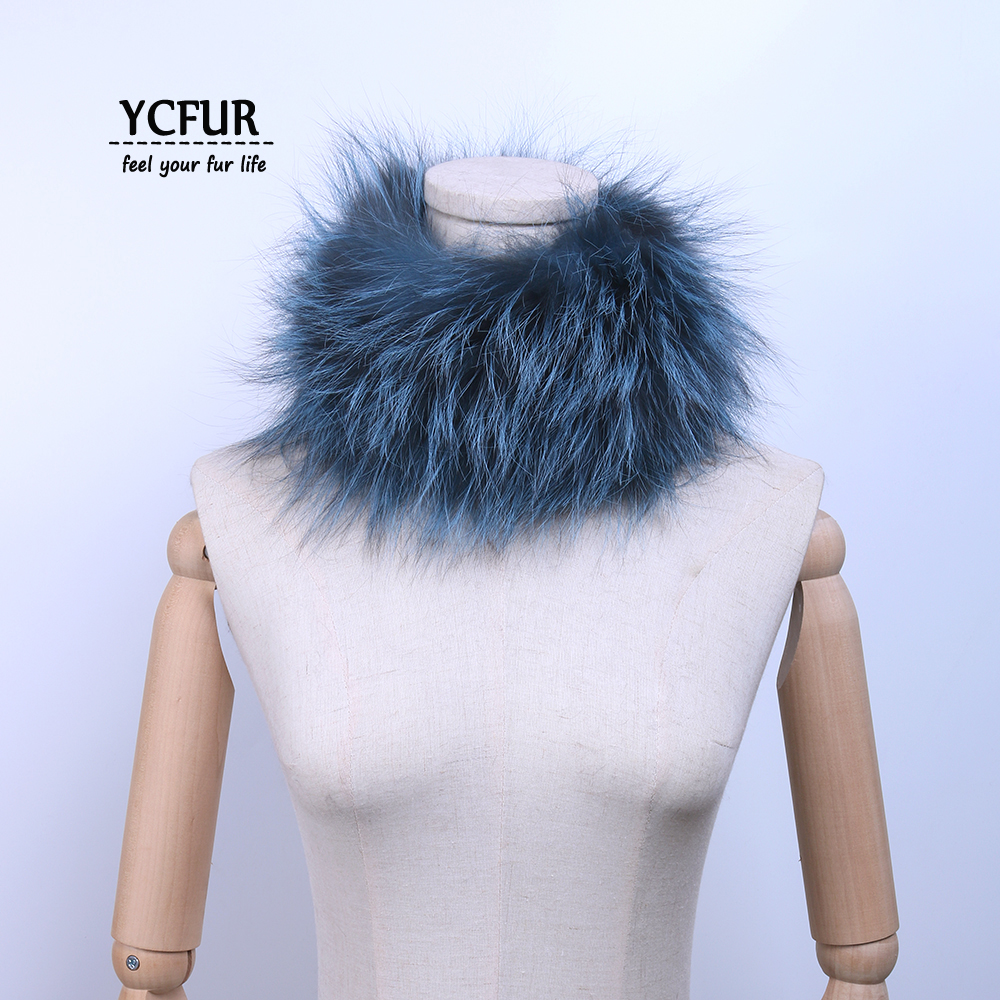 YCFUR Fashion Women Neck Scarf Winter Fluffy Real Fur Ring Scarves For Ladies Elastic Quality Real Fox Fur Neckercheif For Women