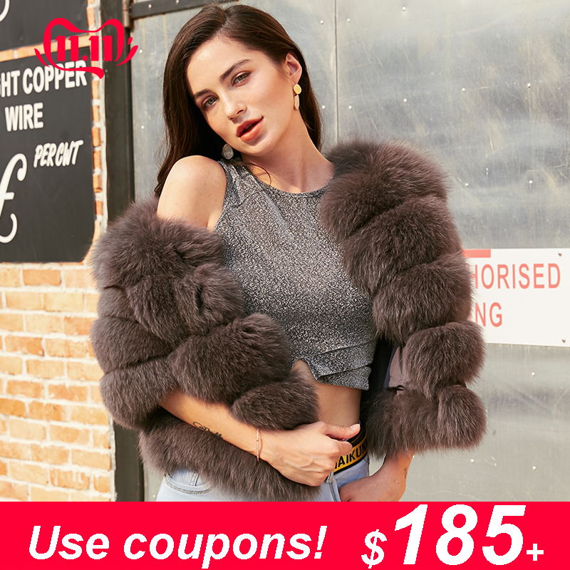 Maylofuer INS NEW Natural Full Leather White Fox Coat Blue Fox Fur Women Garment Horizontal Stripe Short Real Fur Jacket Female