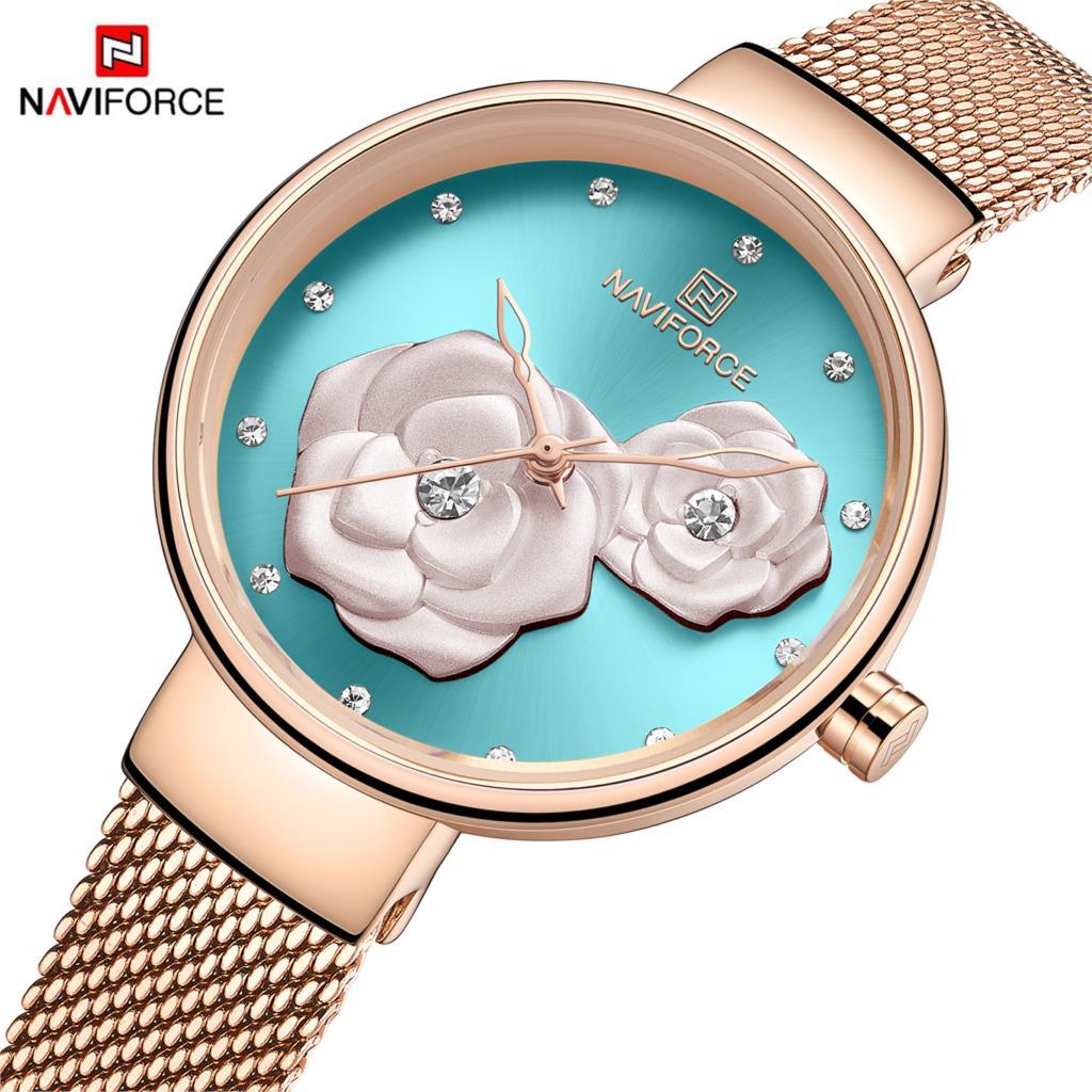 NAVIFORCE Luxury Casual Ladies Watch Waterproof Rose Gold Steel Mesh Quartz Women Fashion Dress Clock Relogio Feminino Flower