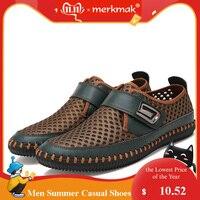 Merkmak/Летняя обувь из натуральной кожи; мужские лоферы на плоской подошве; Повседневная дышащая обувь; chaussure homme; мужские мокасины из натураль...