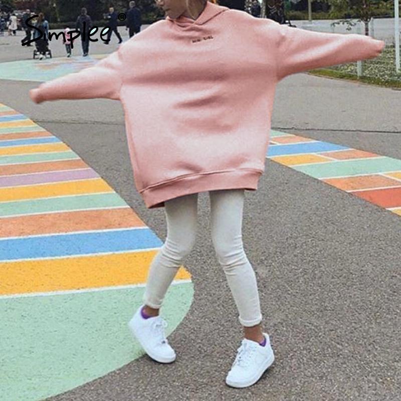 2020 Simplee Casual Solid Pink Women Fleece Sweatshirts Long Sleeve 2