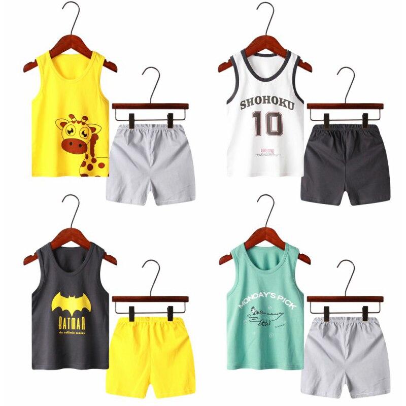 2020 Summer Children Clothing Casual Boys Clothes Sets 2-8Y Cotton Vest Sets For Kids Boys 2PCS