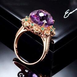Czysty 14 K różowe złoto naturalny ametyst pierścień dla kobiet Anillos De Fine Bizuteria ametyst kamień 14 K biżuteria z różowego złota pudełko na pierścionek