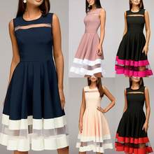 Vestido feminino do vintage malha costura o pescoço vestido sem mangas cintura apertado grande swing ladies joelho comprimento vestido de festa vestidos
