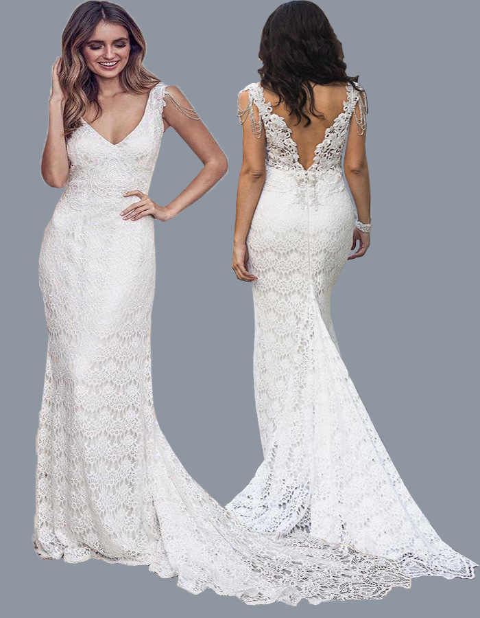 BacklakeGirls Sexy V Neck Sleeveless Open Back Brush Train Mermaid Wedding Dress White Lace Beach Dress Vestido De Novia Playa