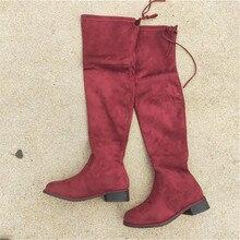 new woman bottine women winter botas plataforma bottes femme Womens shoes Elastic Overknee boots