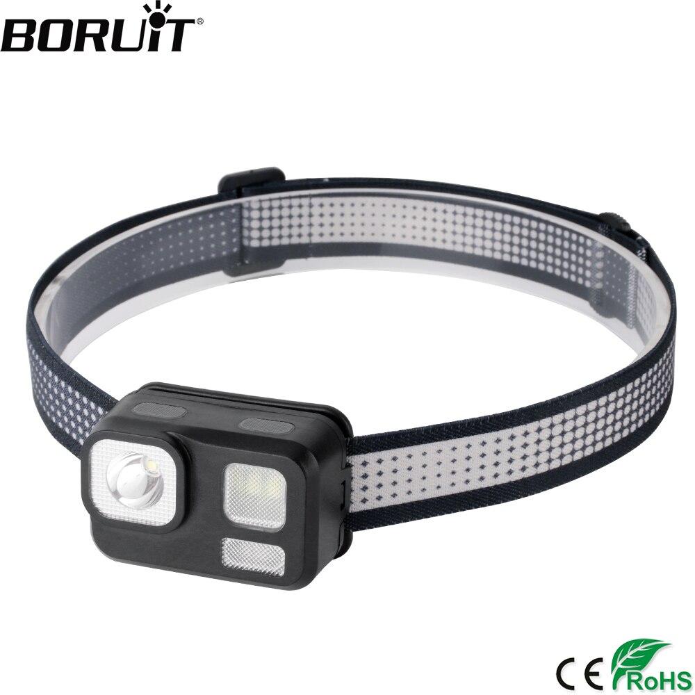 BORUiT B29 LED Mini Headlamp XP-G2+2*5730+2*3030 Red Light 8-Mode Headlight Powerful 180LM Head Torch WaterProof Hunting Light