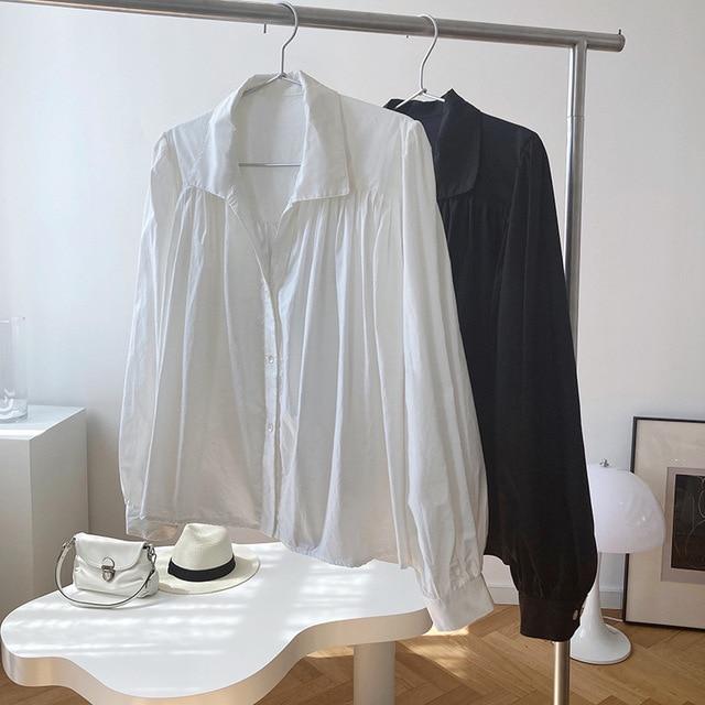 2020 Women Autumn Puff Sleeve Blouses Long Sleeve Turn Down Collar Womens Tops And Blouses White Shirt Blusas Roupa Feminina 6