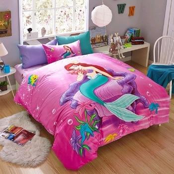 Disney Cartoon Full Mermaid Ariel Printed Pink Bedding Sets for Childrens Girls Bedroom Decor Cotton Duvet Cover Set Queen Twin