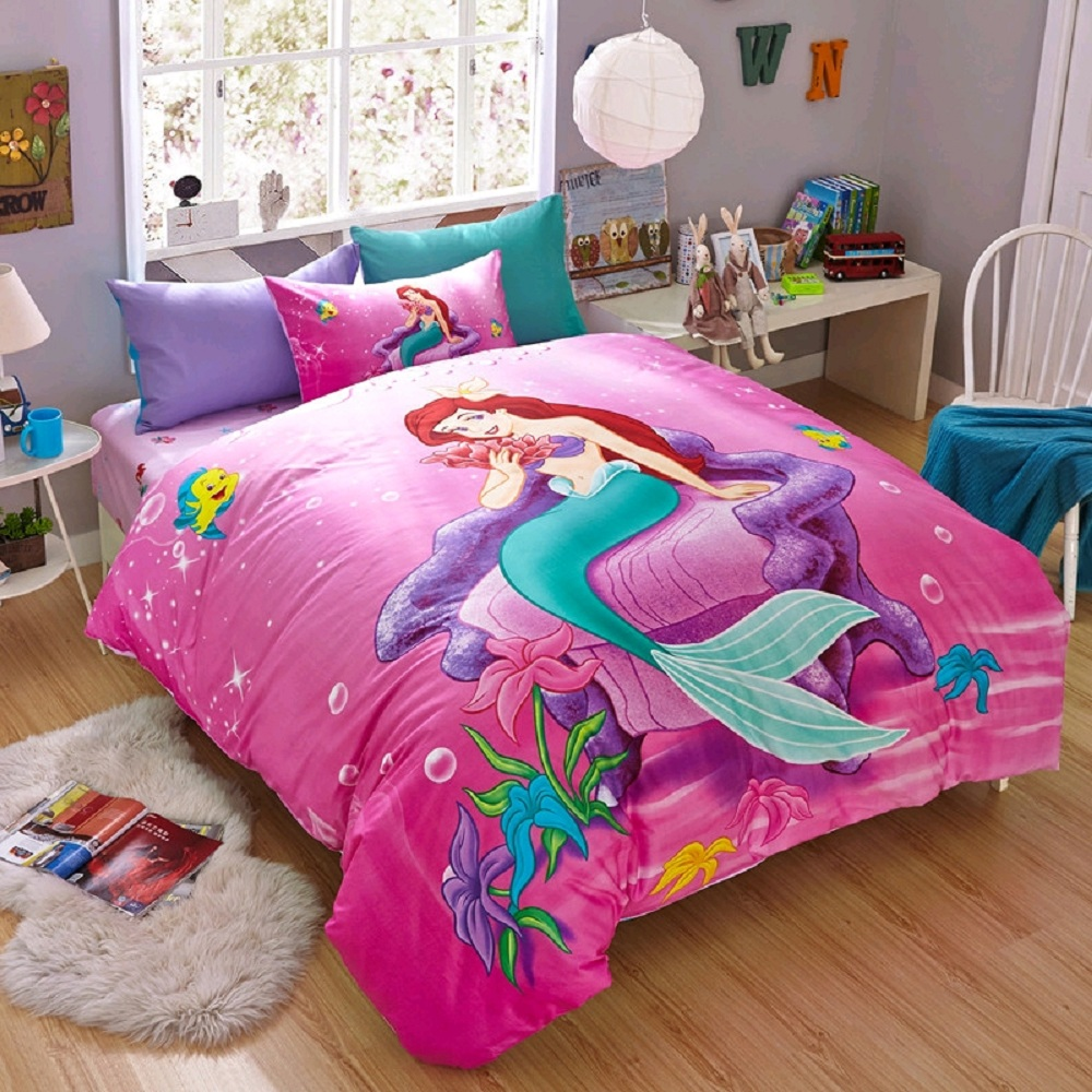 Disney Cartoon ensembles de literie petite sirène Ariel rose pour enfants filles chambre décor coton housse de couette ensemble reine Twin
