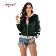 Adogirl Casual Velvet Jacket Women Zipper Up Patchwork Bomber Jacket Coat Autumn Winter Outwear Tops Female Outwear Basic Jacket metallic color zipper up bomber jacket