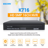 ESCAM K716 16CH 5MP NVR H.265 ONVIF 4K NVR DVR Video Recorder IP Camera Surveillance Security CCTV System Support 8TB