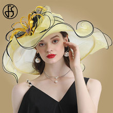FS Yellow Large Flower Wide Brim Hat Fedora Organza Women Sun Hats Ladies Wedding Party Hats Kentucky Derby Hats For Church