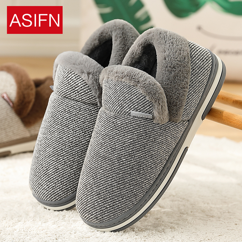 ASIFN Men's Slippers With Fur Indoor Couples Home Non-slip Winter Thick-soled Warm Plush Solid Color Cotton Women Zapatos Mujer