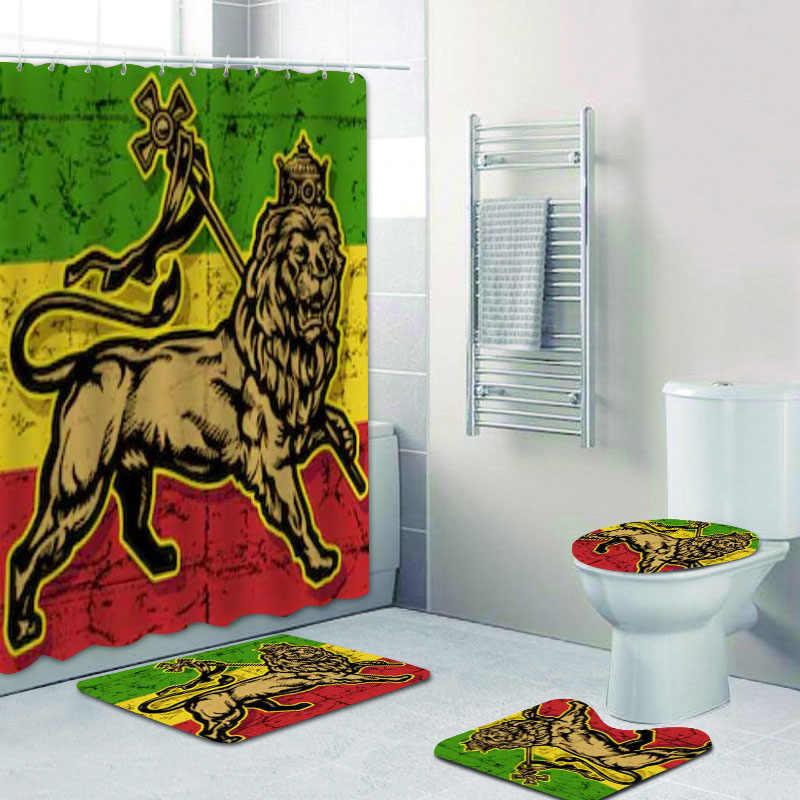 Jamaica Rasta Reggae Lion Bathroom Decor Rasta Reggae Art Bathroom Shower Curtains Set Rastafarian Bath Rug Mats Carpet Toilet Shower Curtains Aliexpress