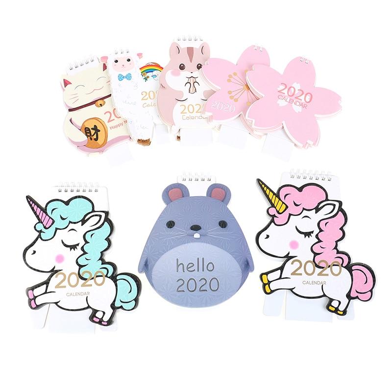 2020 Cute Unicorn Cat Animals Mini Desktop Calendar Cherry Blossom Calendar Daily Schedule Planner 2019.07~2020.12