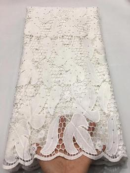 Nigerian Stones Cord Lace Fabric Milk Silk Water Soluble Dress Lace 2020 High Quality Lace African Guipure Lace Fabric
