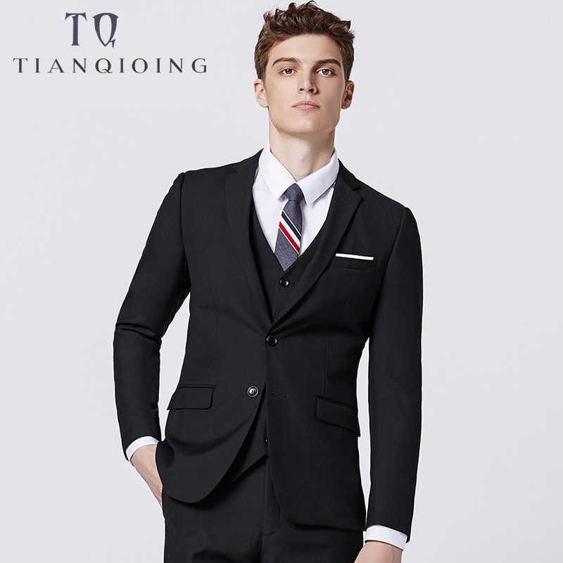(Veste + pantalon + gilet) 2019 costumes pour hommes de haute qualité formelle hommes de mariage Slim Fit hommes d'honneur smokings 3 pièces beau vêtement d'affaires