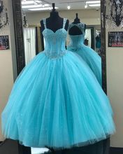 Blue Quinceanera Dresses Bling Ball Gown Sweet 15 Dress Prom Party Sleeveless Sweetheart estidos